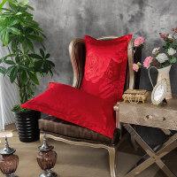 大红婚庆枕套 结婚枕头套 丝绵贡缎提花枕芯套 天丝枕头套一对 48cmX74cm