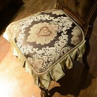 欧式餐椅垫坐垫四季通用美式餐桌布艺套装定做椅套椅背巾凳罩 艾米莉亚咖