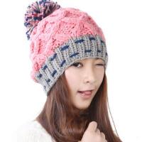 韩版潮毛线帽子女秋冬天保暖米/黄/粉/白色球球针织帽子