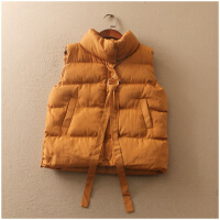 特价 冬季宽松无袖纯色加厚拉链棉衣马甲外套女0914