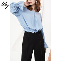 Lily春新款女装喇叭袖纯色宽松圆领插肩袖雪纺衫118130C8210