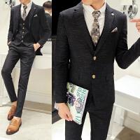 韩版男士暗纹提花西装三件套 英伦风修身西服 新郎服TZG21