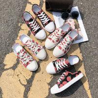 韩版学生平底帆布鞋女 时尚百搭板鞋潮港风草莓休闲女鞋 新款系带小白鞋女