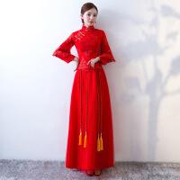 2018秋冬新娘礼服红色中式礼服女敬酒服婚纱长款礼服 红色