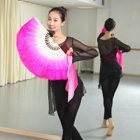 真丝舞蹈扇子 双面胶州扇 秧歌扇子一尺标准跳舞扇子表演扇子