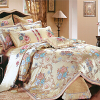伊迪梦家纺 欧美式豪华样板房床上用品多件套 贡缎提花绗缝夹棉绣花 大规格床婚庆十件套TY104
