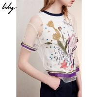 Lily春夏新款女装商务通勤刺绣透纱拼接圆领套头衫118200C8510
