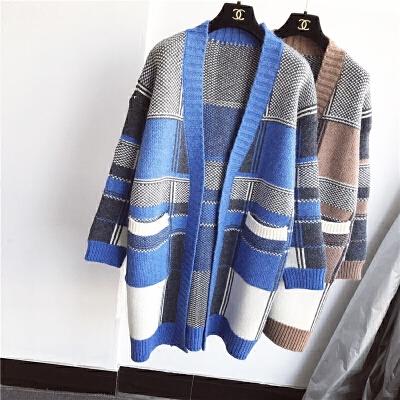 开衫毛衣女中长款加厚格子提花宽松时尚冬季外套V领针织衫韩版潮