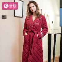 芬腾 新品性感风翻领玫瑰刺绣睡袍薄夹棉长袖家居服女士睡衣