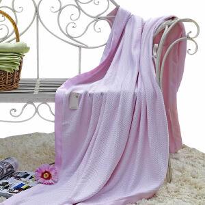 当当优品 竹纤维加厚编织纹超柔透气毛巾被毯子盖毯 粉色 180*220