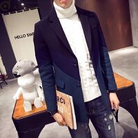 男士潮牌羊绒呢子大衣男韩版修身冬季加厚中长款毛呢风衣帅气潮流 藏青色 3XL
