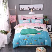 纯棉四件套床上用品时尚卡通全棉床单被套4件套1.5米1.8m