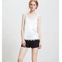 欧美蕾丝V吊带背心女短款外穿内搭段背心显瘦打底衫大码
