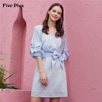 Five Plus2019新款女春装V领条纹连衣裙灯笼袖高腰短裙子套头气质