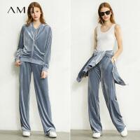 【到手价:161元】Amii极简洋气丝绒套装女2020春新款棒球外套时尚显瘦阔腿裤两件套