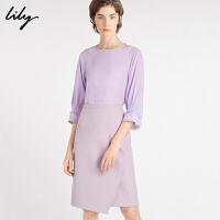 【新品直降到手价:239元】 Lily2020春新款女装气质淑女泡泡袖宽松圆领套头上衣雪纺衫8913