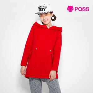 【不退不换】PASS毛呢外套冬装女士羊羔绒带帽中长款外套宽松棉衣