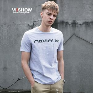 viishow夏装新款t恤男 潮流圆领字母图案短袖t 青年衣服体恤