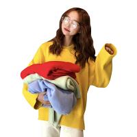 秋冬韩版糖果色宽松慵懒风网红纯色套头外穿毛衣针织衫上衣外套女 均码
