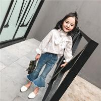 女童衬衣2018春季新款童装韩版圆点宝宝长袖打底衫儿童白衬衫潮