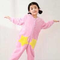 儿童连体睡衣秋冬季珊瑚绒女童保暖家居服