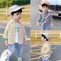 男童衬衫春秋儿童衬衣长袖小童格子帅气宝宝春装薄款