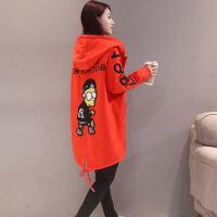 毛呢外套女2017新款韩版学生中长款大码女装字母印花羊绒大衣双面