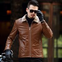 海宁冬季真皮皮衣男中年加绒加厚绵羊皮夹克皮毛一体修身保暖外套 卡其 170/84A