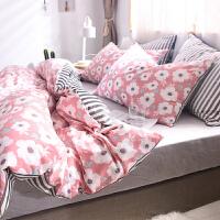 北欧清新加厚珊瑚绒四件套A全棉磨毛B宝宝绒被套床单1.8m床上用品 2.0m(6.6英尺)床 床单式