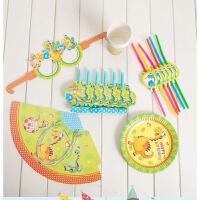 儿童生日派对布置用品卡通恐龙主题派对套装儿童生日派对甜品台餐具用品吹龙布置道具