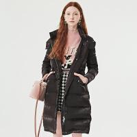活动到手价500丨红袖秋冬新款中长款连帽白鸭绒保暖外套