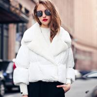 冬欧美女式新款品牌白色宽松保暖蝙蝠型短款翻领棉衣外套 白色