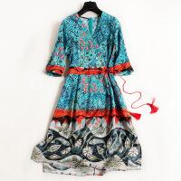 欧洲站女装连衣裙V领抽绳流苏高腰裙子复古真丝印花中裙6481 花色