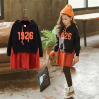 韩版童装冬季新款女童加绒加厚连衣裙中大儿童假卫衣裙子