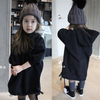 韩国童装冬装春女童加绒开叉连衣裙长款亲子装中大童连帽卫衣裙潮