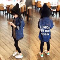 女童牛仔外套春秋上衣新品韩版女孩字母中长款女宝宝长袖牛仔衬衫