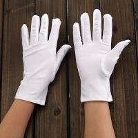 氨纶手套男女白黑色短薄款春夏季防晒礼仪舞蹈高弹力珠宝演出紧身 均码