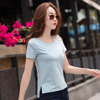 夏季韩范白色t恤女短袖简约不规则女士纯色显瘦体恤短款上衣