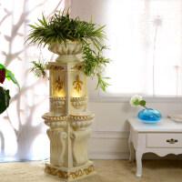 欧式客厅阳台家居装饰喷泉流水水景摆设风水轮摆件花盆流水器工艺礼品