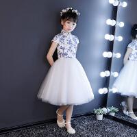 青花瓷古筝二胡表演演出服女童蓬蓬纱裙小主持人冬儿童礼服公主裙