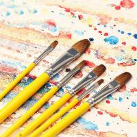 凡高826高档水粉画笔狼毫水粉笔水彩笔长杆圆头6支套装油画画笔