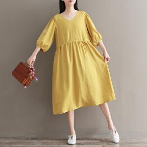 RANJU然聚 2018夏季女装新品新款复古绣花亚麻V领娃娃裙宽松7分袖连衣裙