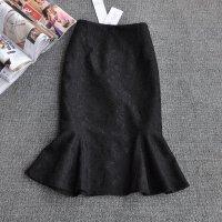 加厚蕾丝鱼尾裙半身裙秋冬中长款荷叶边裙高腰黑色一步包臀裙 X