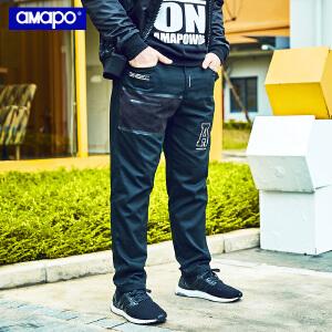 【限时抢购到手价:109元】AMAPO潮牌大码男装胖子肥佬加肥加大码宽松直筒休闲嘻哈长裤男潮