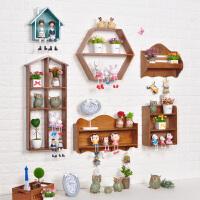 墙上置物架免打孔实木装饰架格子木架挂墙房间墙壁墙饰创意储物架