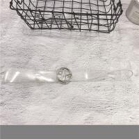 塑胶透明皮带女简约百搭韩国学生个性圆扣带圆圈装饰连衣裙腰带宽 103cm