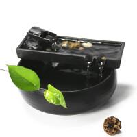 陶瓷流水摆件客厅办公室桌面喷泉饰品招财加湿器鱼缸