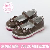 斯纳菲真皮儿童鞋浅口休闲单鞋 春秋新款花朵公主鞋 女童皮鞋