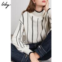 Lily2020春新款女装法式慵懒撞色黑白条纹宽松落肩袖毛针织衫8982/8907