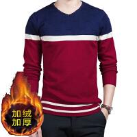 男士秋衣上衣薄款v领毛衣修身韩版青年撞色针织衫打底衫线衫外穿